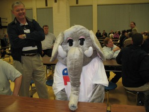 Ellie Elephant attended his precinct meeting...