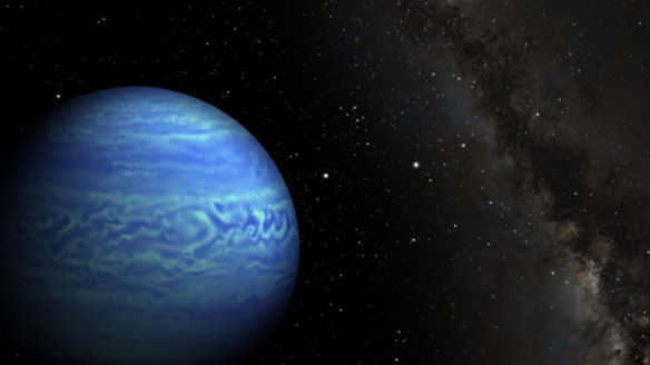 Artist's conception of the brown dwarf WISE J085510.83-071442.5. The Sun is the bright star directly to the right of the brown dwarf. Credit: Robert Hurt/JPL, Janella Williams/Penn State University [Click to enlarge image]